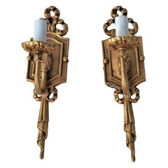 Sconces, 18-Karat Gold-Plated, Single Socket Style After Empire