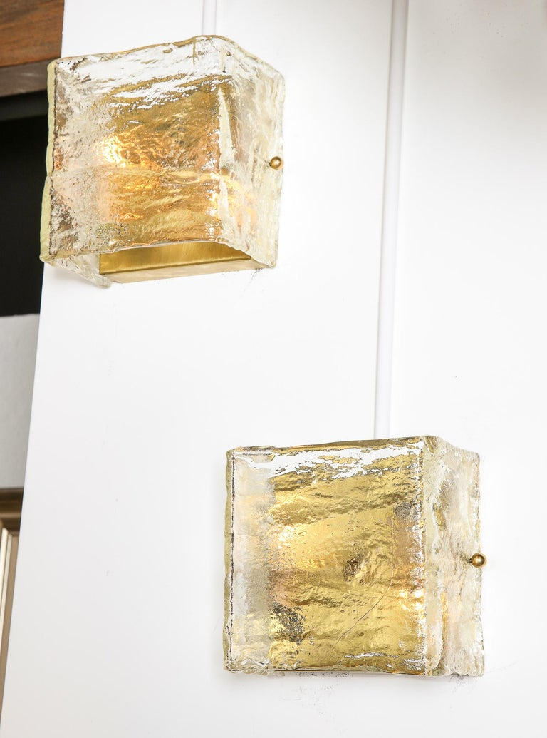 Pair of Glass Sconces, Murano, Italy, Midcentury Italian, circa 1960, Clear In Good Condition For Sale In New York, NY