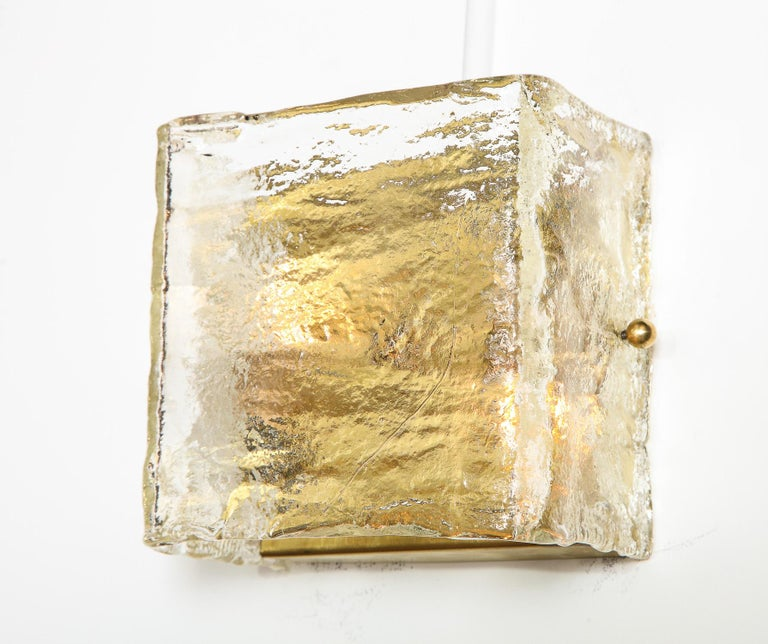 Mid-20th Century Pair of Glass Sconces, Murano, Italy, Midcentury Italian, circa 1960, Clear For Sale