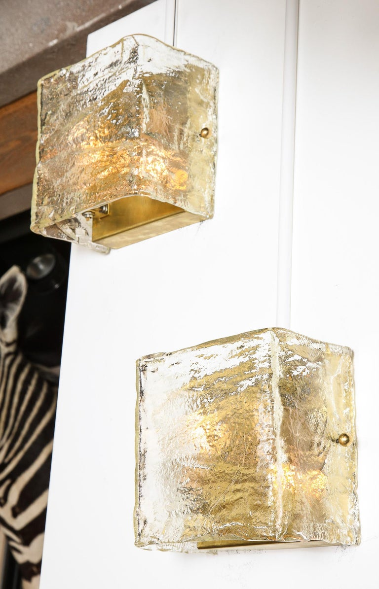 Pair of Glass Sconces, Murano, Italy, Midcentury Italian, circa 1960, Clear For Sale 1