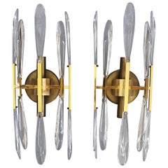 Sconces in Brass and Crystal Glass Midcentury by Gaetano Sciolari, Italy, 1960s