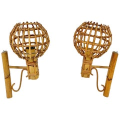 "Sconces ""Lantern"" Wall Lamp in Rattan, Attributed to Louis Sognot, France, 1960s"