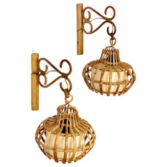 """Sconces """"Lantern"""" Wall Lamp Rattan, Attributed to Louis Sognot, France, 1960s"""