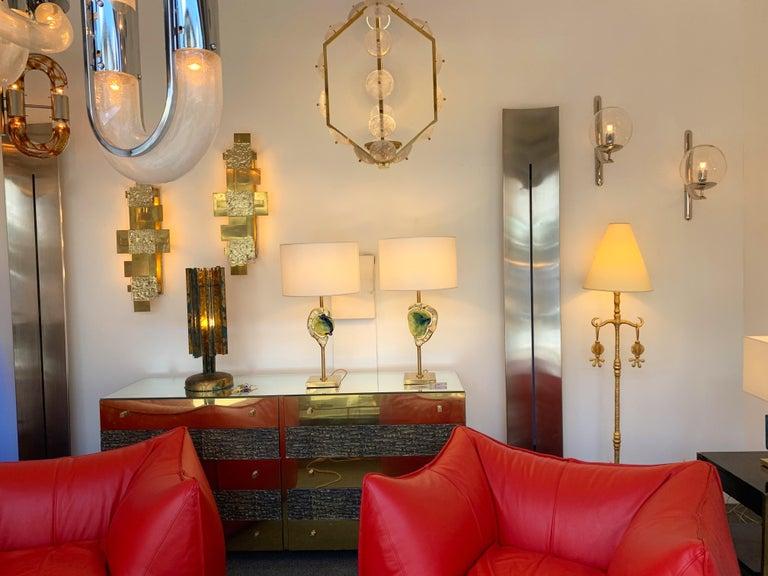 Sconces Silvered Bronze Murano Glass by Venini, 1980s For Sale 5