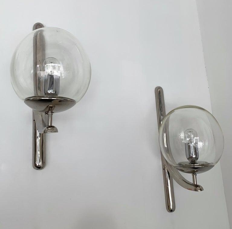 Italian Sconces Silvered Bronze Murano Glass by Venini, 1980s For Sale