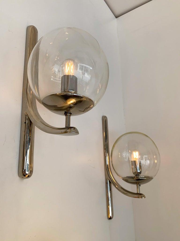Blown Glass Sconces Silvered Bronze Murano Glass by Venini, 1980s For Sale