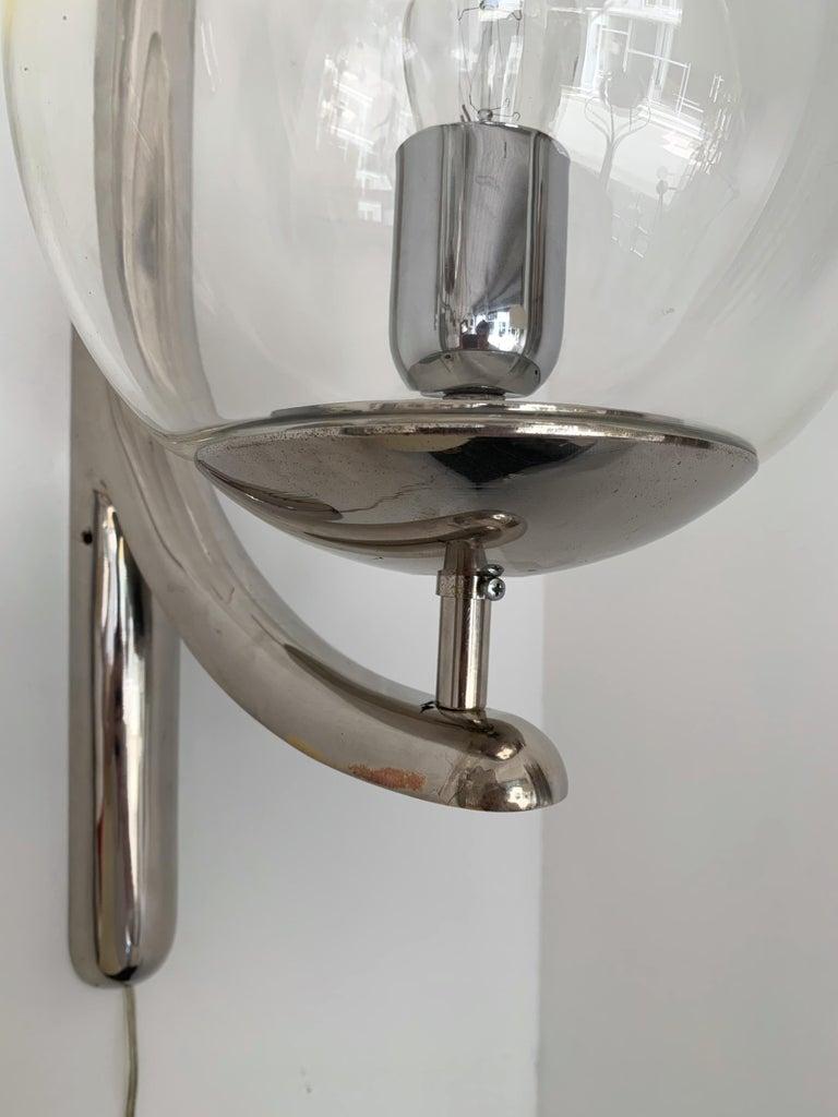 Sconces Silvered Bronze Murano Glass by Venini, 1980s For Sale 2