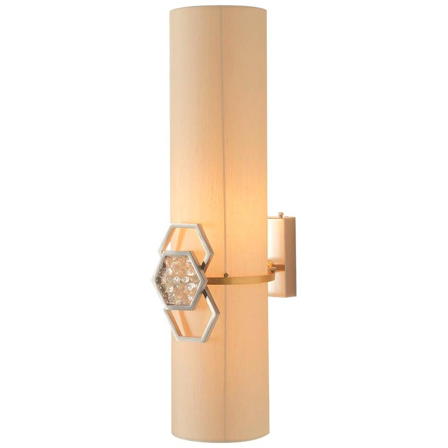 Sconces Wall Light Brass Lampshade Glass Crystal Ivory Italy