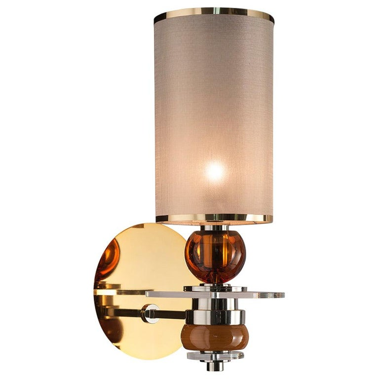 Sconces Wall Lights Brass Crystal Glass Majolica Gold Nickel Amber Italy For Sale