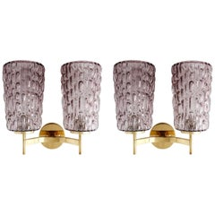Sconces Wall Lights by Rupert Nikoll, Violet Textured Glass Brass, Vienna, 1950s