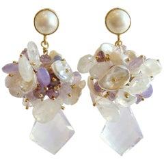 Scorolite Kite Cut Cluster Earrings Tanzanite Moonstone Amethyst Keshi Pearls
