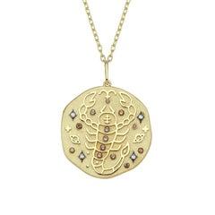 Scorpio Zodiac Charm Necklace, Lucky Stone Diamond and Topaz 14K Yellow Gold