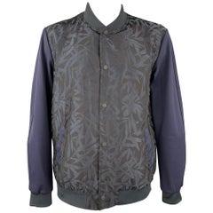 SCOTCH AND SODA Size XXL Navy Jacquard Polyester Zip Up Jacket