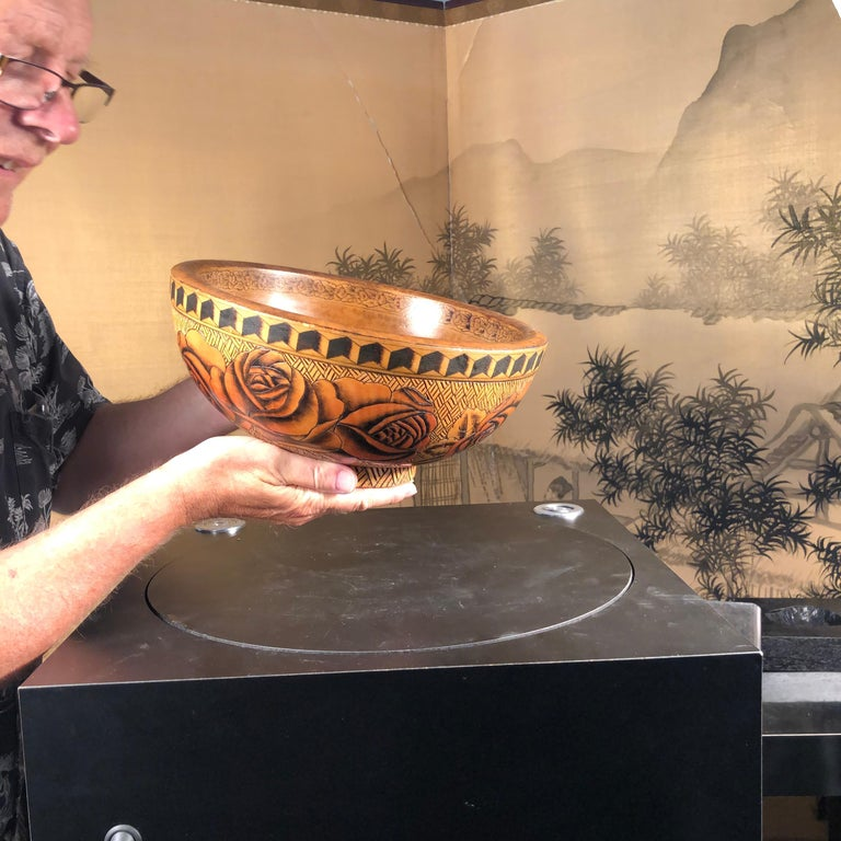 From Scotland and an old New England collection.  Unique find.  Scottish Hand crafted, hand painted, and incised wooden bowl, 1930   An all original work of art signed on bottom with a finely hand painted and incised butterfly.  The