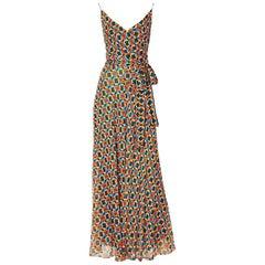 Scott Barrie Chiffon Chain Pattern  Maxi Dress
