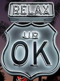 """Relax UR OK"" - Neon Small -Contemporary Street Sign Sculpture"