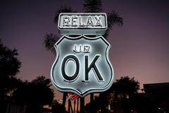 """""""Relax UR OK"""" - Neon Contemporary Street Sign Sculpture"""