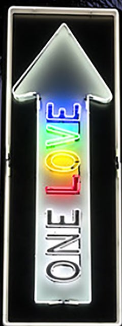 """One Love Pulsating"" - Neon Small -Contemporary Street Sign Sculpture"