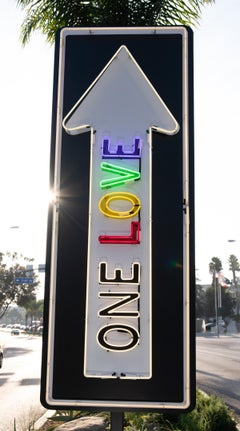"""""""One Love Pulsating"""" - Neon Contemporary Street Sign Sculpture"""