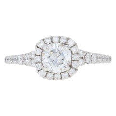 Scott Kay 1.12ctw Round Brilliant Diamond Engagement Ring, 14k White Gold Halo