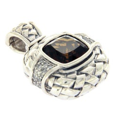Scott Kay 925 Sterling Silver Smokey Quartz and Diamond Enhancer Pendant Charm