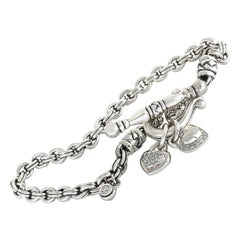 Scott Kay Chain Heart Sterling Silver and Diamond Bracelet