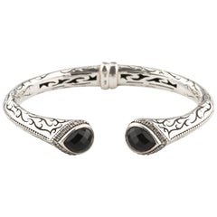 Scott Kay Diamond-Framed Onyx Sterling Silver Cuff Bracelet