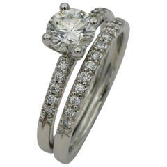 Scott Kay Platinum 1.00 Carat Round Brilliant Center Stone Diamond Wedding Set