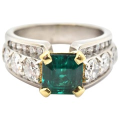 Scott Kay Platinum and 18 Karat Yellow Gold Square-Cut Emerald and Diamond Ring