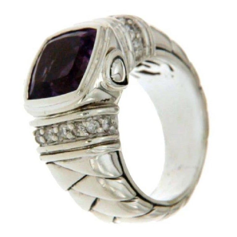 Scott Kay Sterling Silver 925 Diamonds Amethyst Ladies Ring