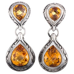 Scott Kay Sterling Silver and Citrine Dangle Push Back Earrings