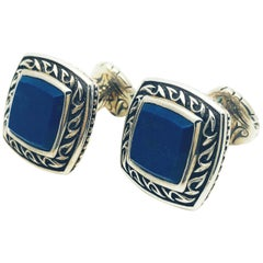 Scott Kay Sterling Silver and Lapis Lazuli Square framed, Engraved Cufflinks
