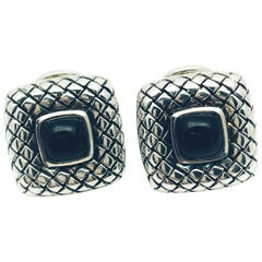 Scott Kay Sterling Silver and Onyx Square Framed, Basket Weave Cufflinks