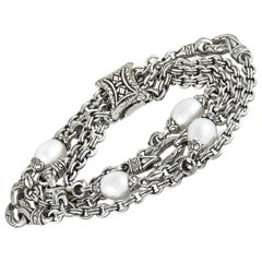 Scott Kay Sterling Silver and Pearl 3 Link Chain Bracelet