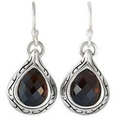 Scott Kay Sterling Silver and Smoky Quartz Dangle French Wire Earrings