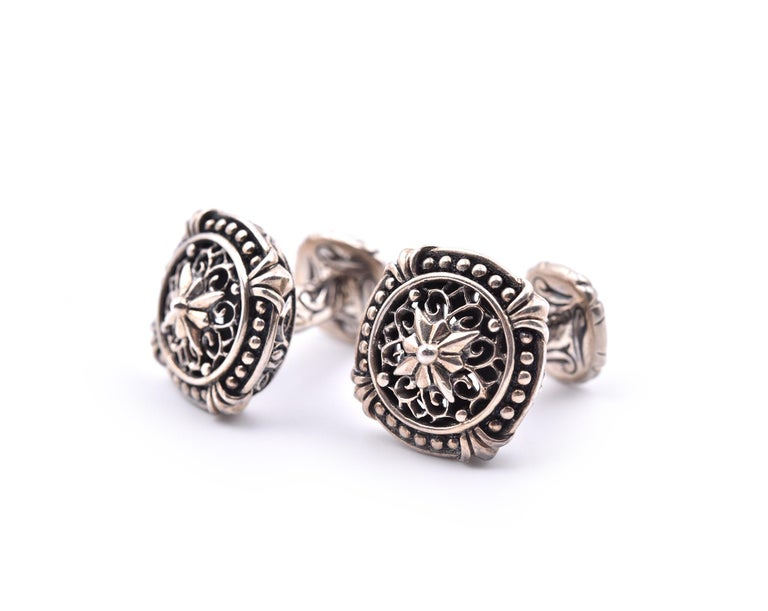 Scott Kay Sterling Silver Cufflinks In Excellent Condition For Sale In Scottsdale, AZ