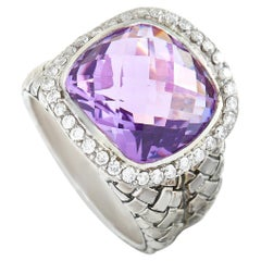 Scott Kay Sterling Silver Diamond and Amethyst Dome Ring
