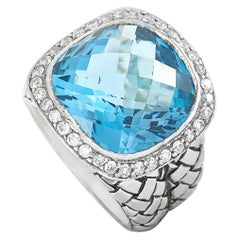 Scott Kay Sterling Silver Diamond and Blue Topaz Large Dome Ring