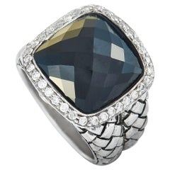 Scott Kay Sterling Silver Diamond and Onyx Dome Ring