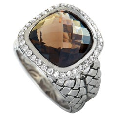 Scott Kay Sterling Silver Diamond and Quartz Dome Ring