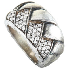 Scott Kay Sterling Silver Diamond Braided Band Ring