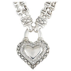 Scott Kay Sterling Silver Diamond Heart Pendant Necklace