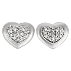 Scott Kay Sterling Silver Diamond Heart Stud Earrings