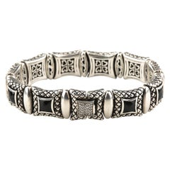 Scott Kay Sterling Silver Equestrian Bracelet with Faceted Onyx & Diamond Clasp