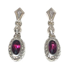 Scott Kay Sterling Silver with Garnet and Diamond Ladies Earring E1251SRG