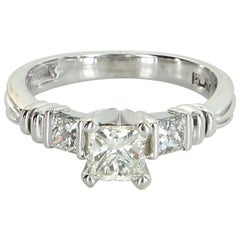 Scott Kay Three-Stone Diamond Platinum Engagement Ring Pre Owned Jewelry