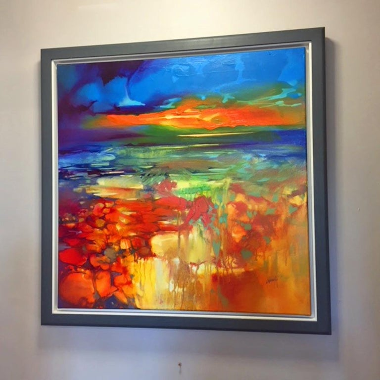 Moulded by Water, an orange and blue abstract landscape - Painting by Scott Naismith
