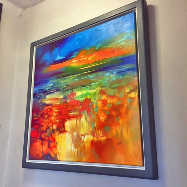 Moulded by Water, an orange and blue abstract landscape - Abstract Painting by Scott Naismith