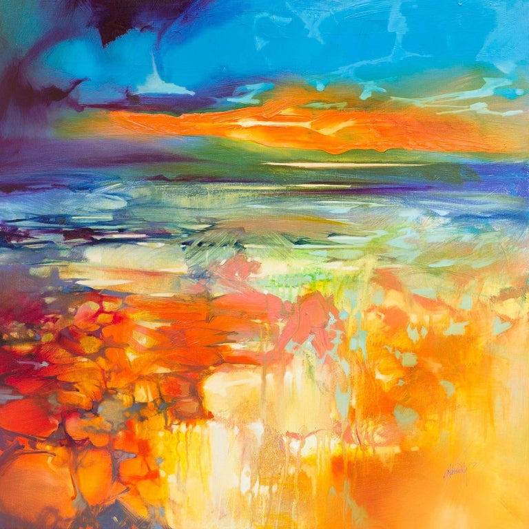Scott Naismith Abstract Painting - Moulded by Water, an orange and blue abstract landscape