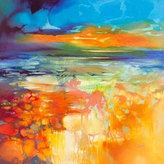 Moulded by Water, an orange and blue abstract landscape